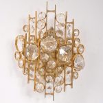 1960s Sculptural wall lamp / sconce in brass with glass icicles