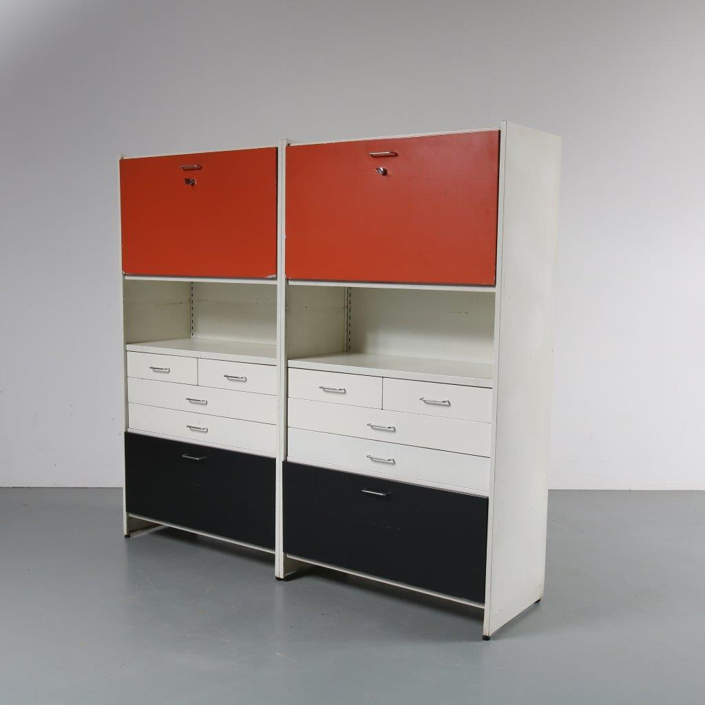 m22650 1960s High model two unit metal system cabinet with several coloured doors André Cordemeijer Gispen / Netherlands