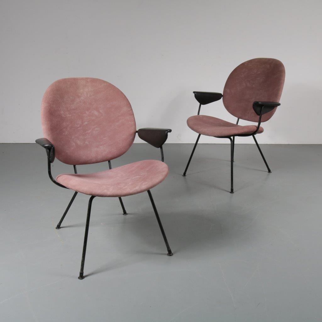 1950s Beautiful set of two easy chairs W.H. Gispen Kembo / Netherlands