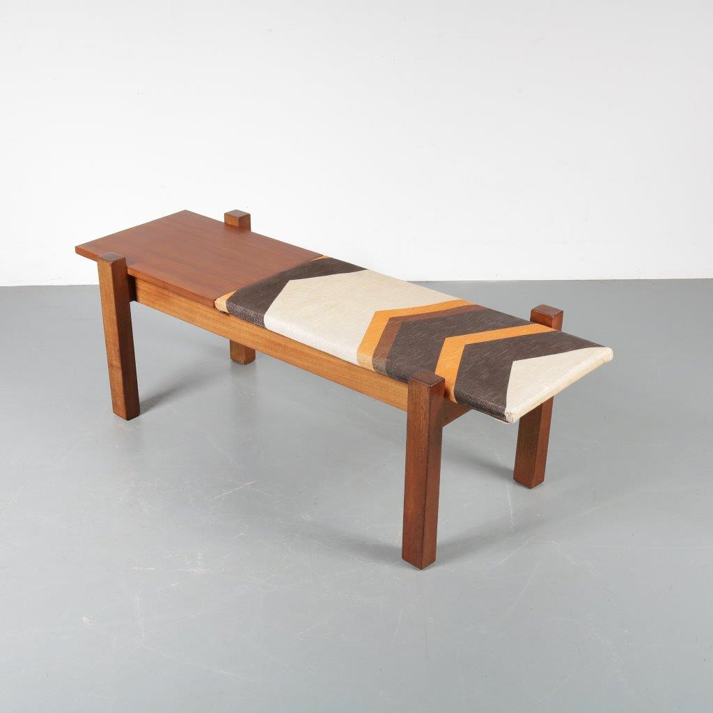 m22704 1960s Teak bench with retro upholstery and integrated side table Netherlands