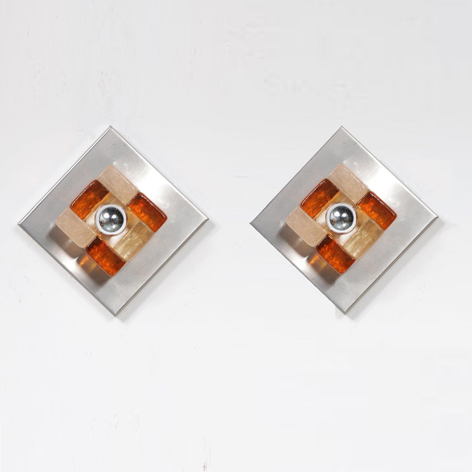 1970s Pair of Murano Wall Sconces by Angelo Brotto, manufactured in Italy