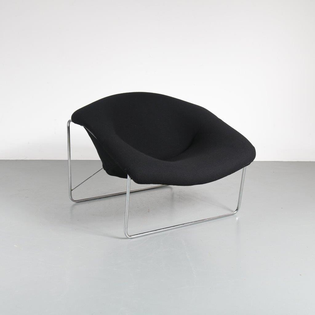 m21308 1960's Easy chair black kvadrat upholstery, new Olivier Mourgue Airborne / France