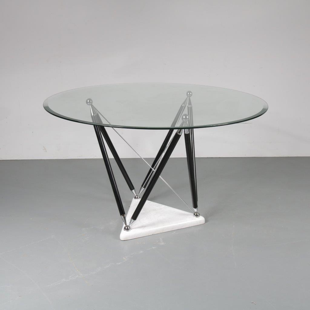 INC41 Dining table with marble foot, chrome with black metal base and round glass top, Italy
