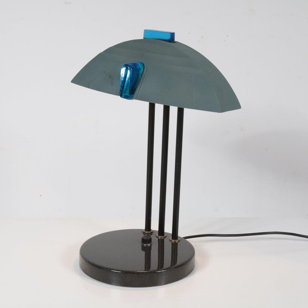 L4132 1980s Mepmhis style table lamp, granite, ceramics, metal and glass details Italy