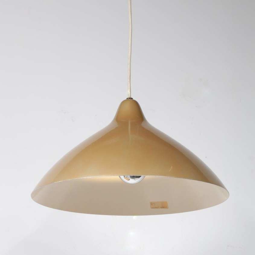 L4103 1950s Beautiful styled Scandinavian golden coloured hanging lamp Lisa Pape-Johansson Orno Stockmann / Finland