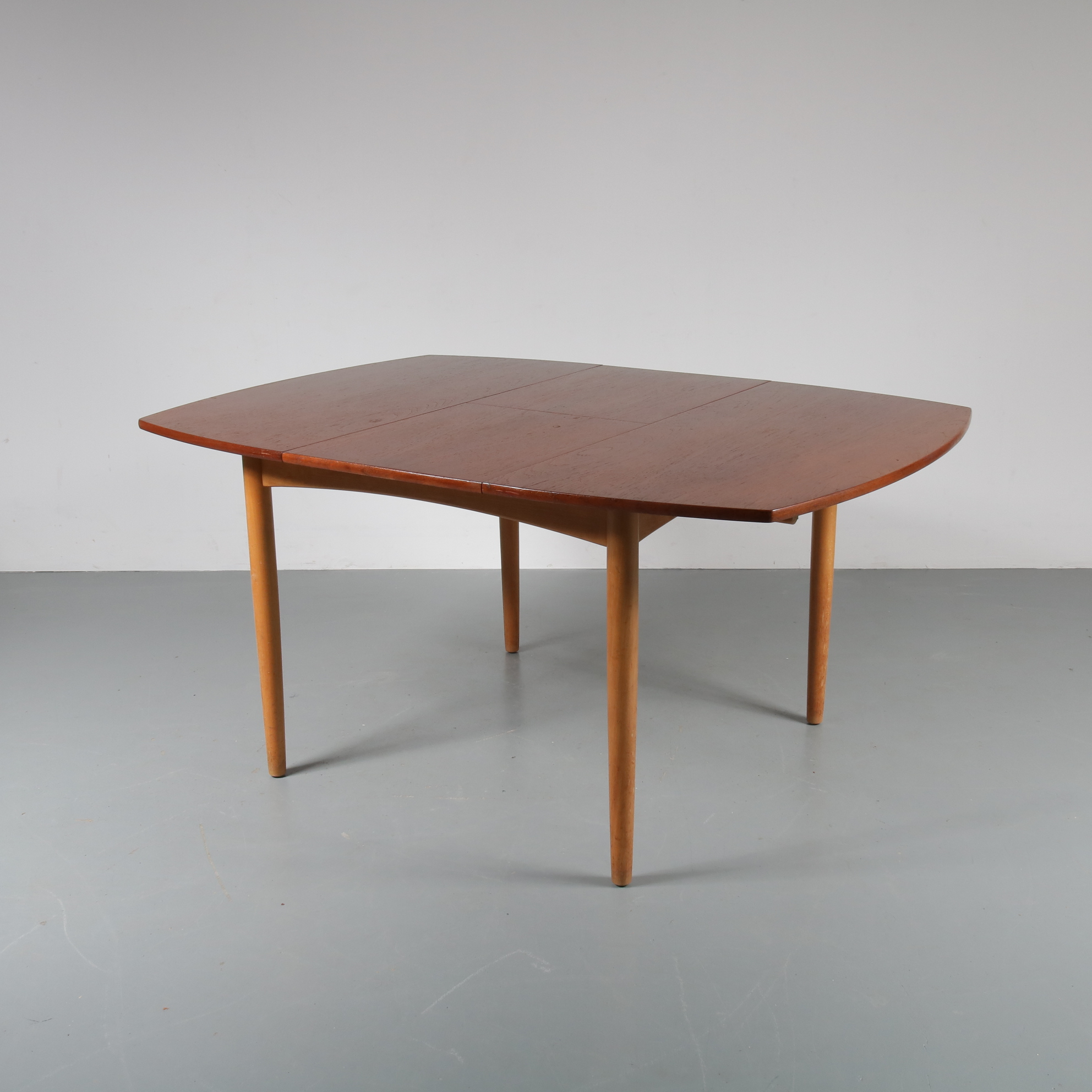 1950s Square table with rounded corners, birch with teak top William Watting Fristho / Netherlands