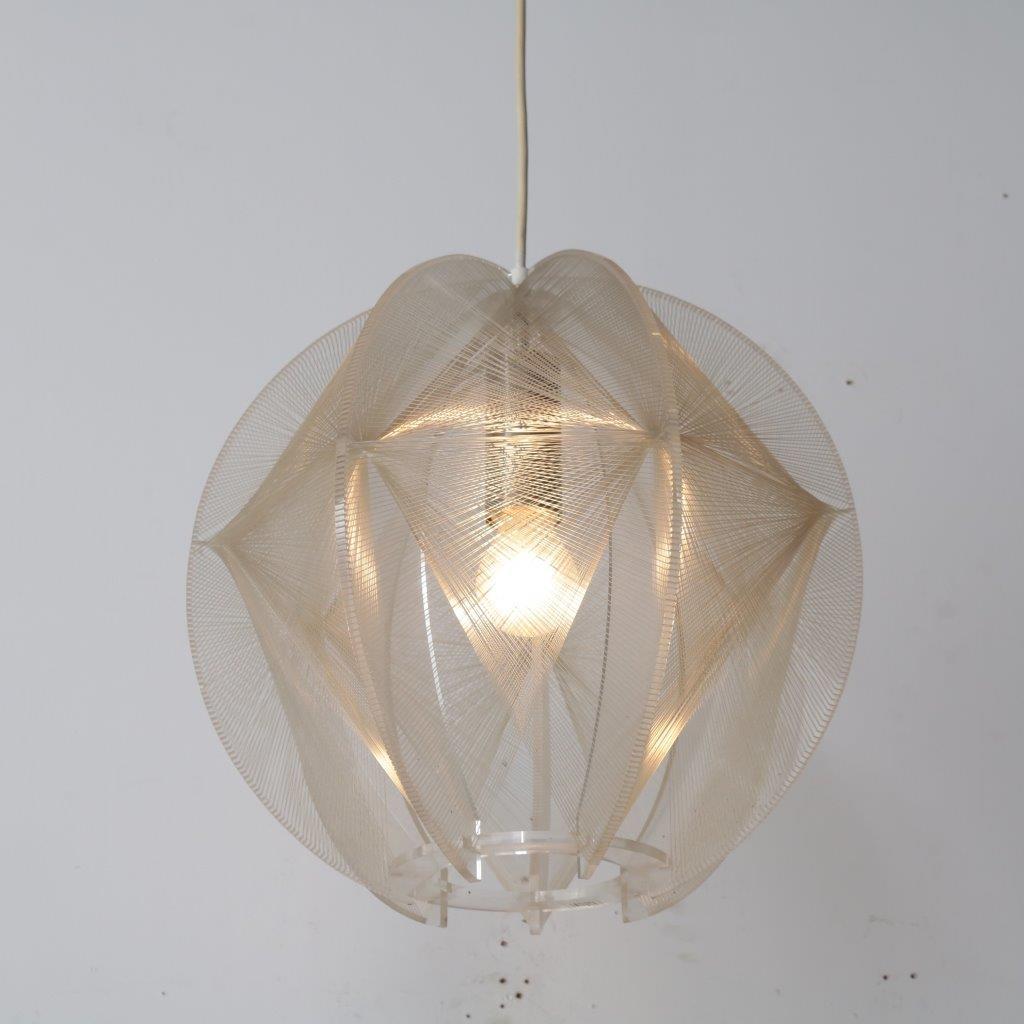 L4115 1970s Unique lucite hanging lamp Paul Secon Sompex / France
