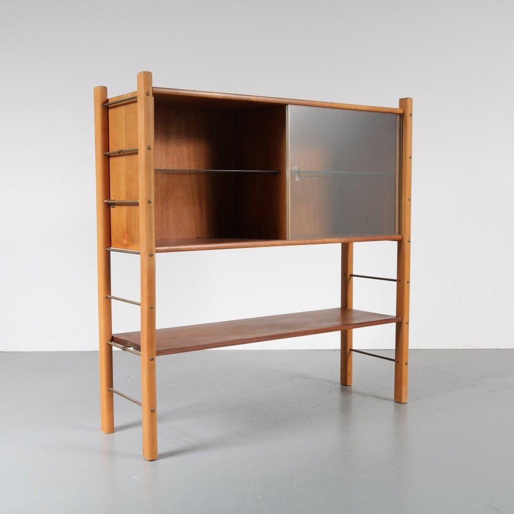 m22848 1950s Birch with walnut cabinet with glass sliding doors William Watting Fristho / Netherlands