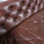 m22702 1960s Brown leather three seater sofa with padded upholstery Geoffrey Harcourt Artifort / Netherlands