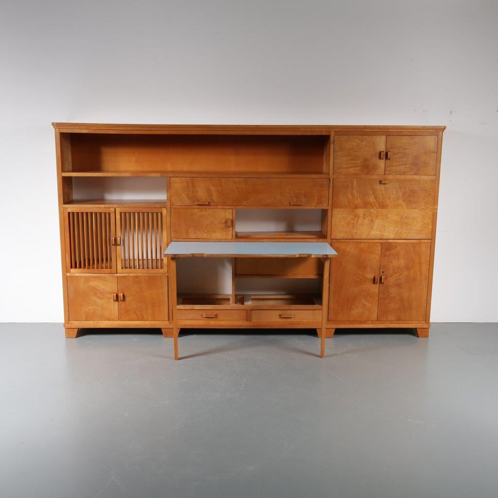 m22867 1950s Large birch storage cabinet with integrated dining table / desk with blue laminated top Netherlands