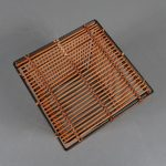 m22502 1950s Lovely styled black metal with rattan storage box Rohé / Netherlands
