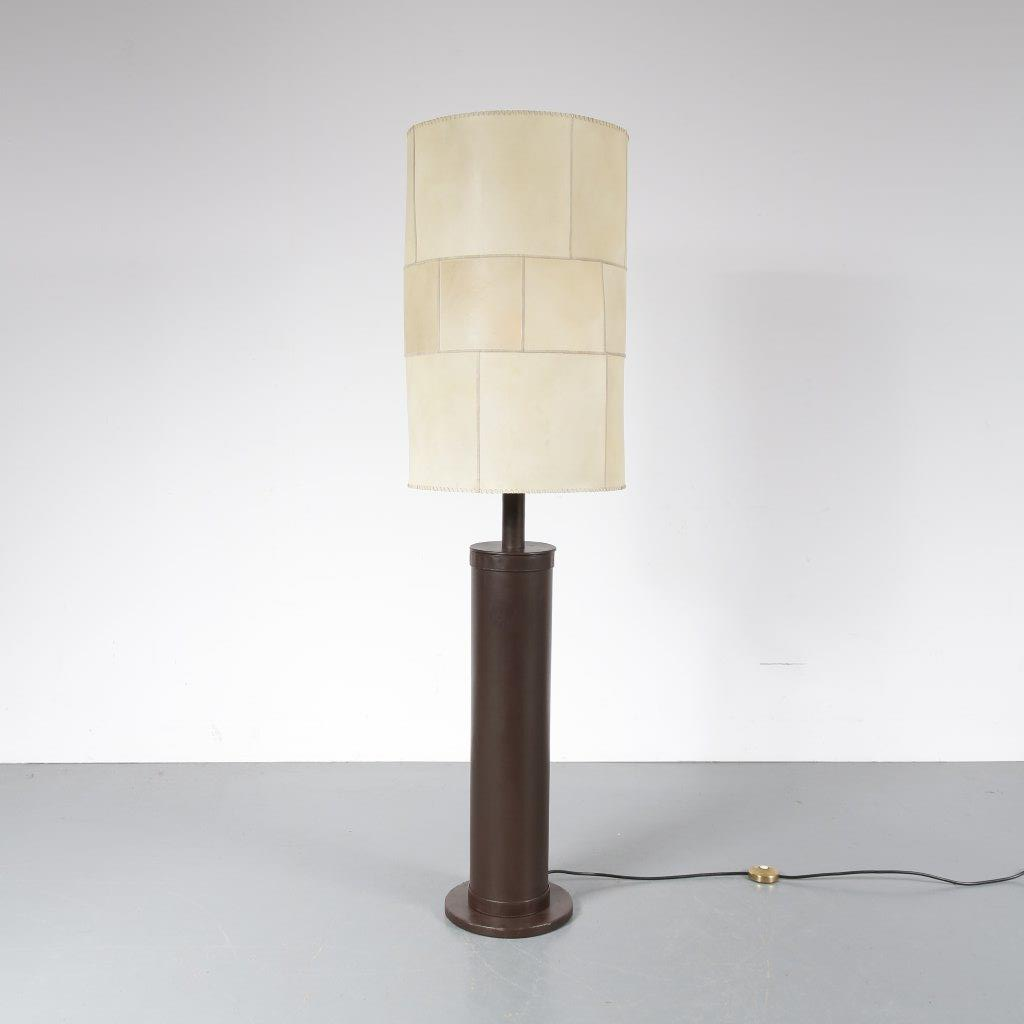 L4102 1960s Large floor lamp leather upholstered base with parchment hood made in France, distributed by Charlotte Wawer in Germany