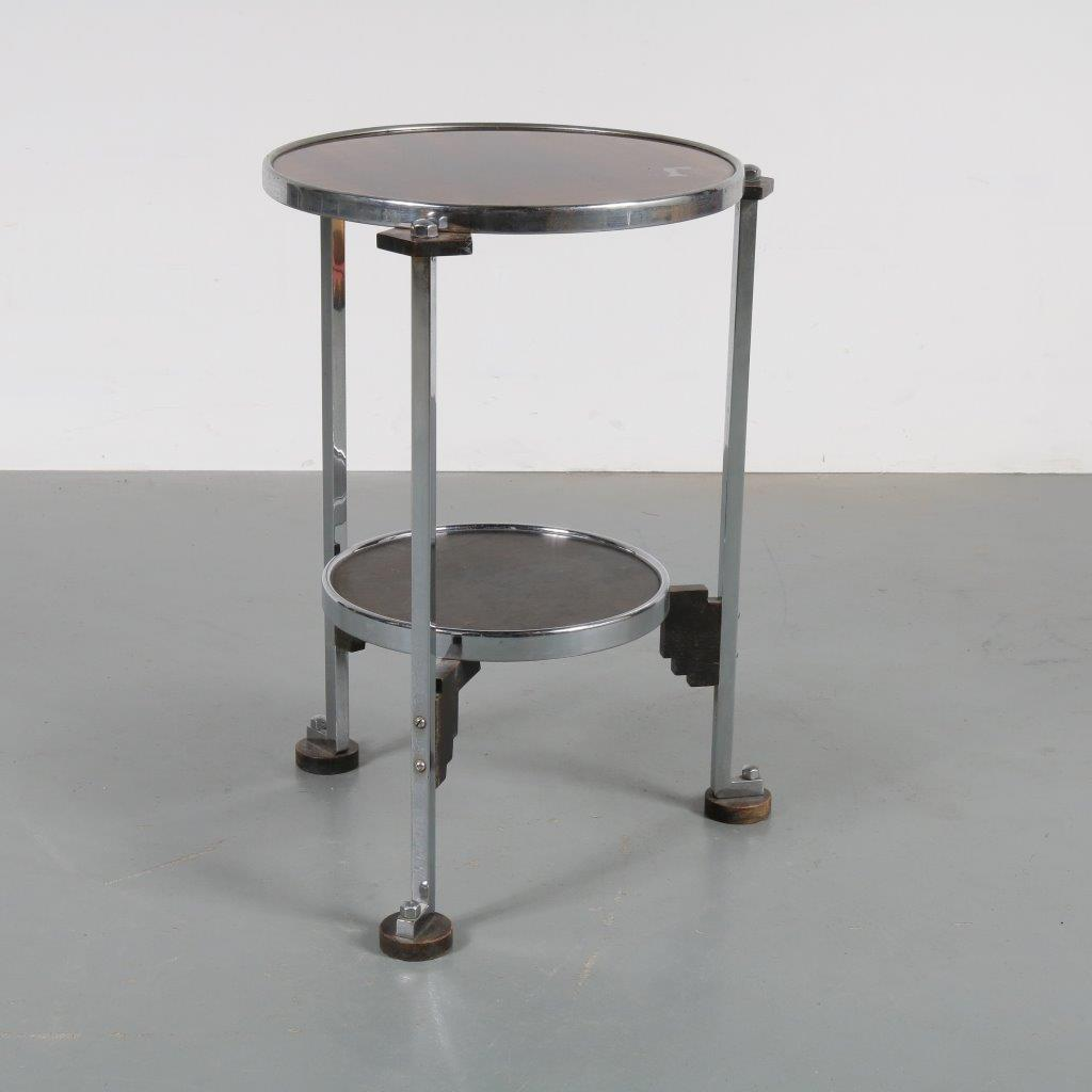 m22874 1930s Beautiful art deco side table on chrome metal with black wooden base and glass top Netherlands