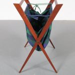 m22881 1950s Foldable teak with fabric magazine rack Denmark