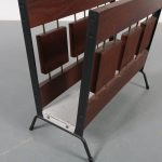 m22898 1960s Teak with black metal magazine rack