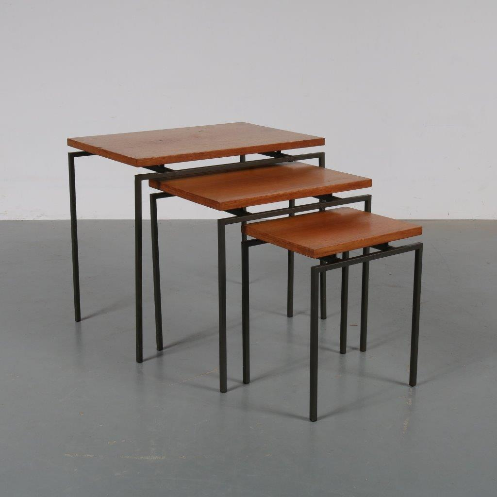 m22872 1950s Nice set of 3 nesting tables on black metal base with teak tops Netherlands