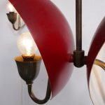 L4116 1950s hanging lamp red perforated metal with brass armature Bent karlby Lyfa / Denmark