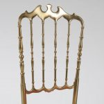m22911 m22912 1960s Brass Italian side chair with original upholstery Chiavari / Italy