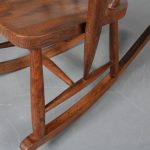 m22914 1940s Rustic oak wooden rocking chair in Scandinavian style Sweden