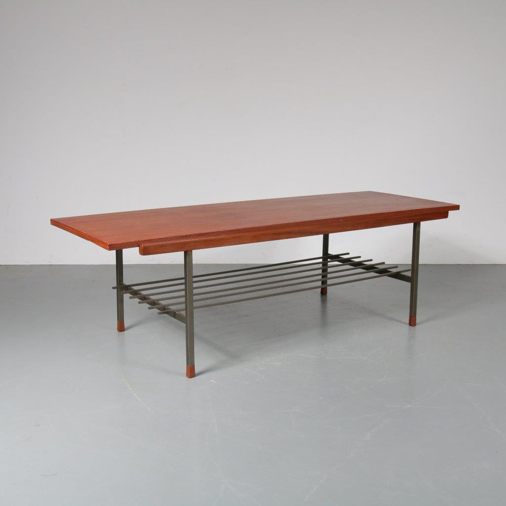 m22910 1950s Coffee table teak with white laminated reversible top on metal base Gelderland / Netherlands