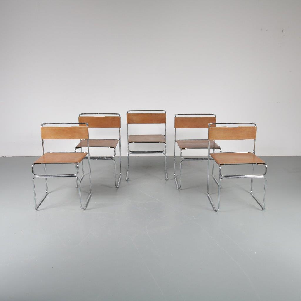 m22864 Set of 5 tubular steel dining chairs with cognac saddle leather upholstery Giovanni Carini Planula / Italy