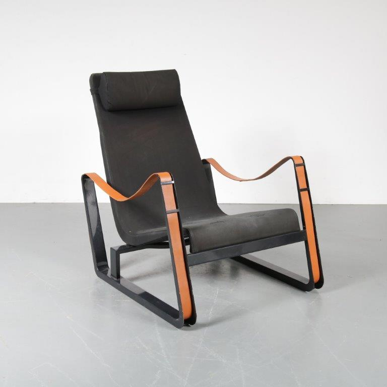 m22991 2000s Cité chair on black metal base with cognac leather straps and dark blue upholstery Jean Prouvé Vitra / Germany