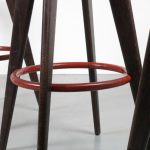 2000s Stained oak bar stool with red metal support, model Tabouret Haut Jean Prouvé Vitra / Germany