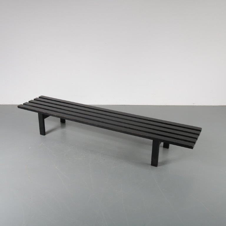 m22957 1960s Black wooden slate bench Martin Visser Spectrum / Netherlands