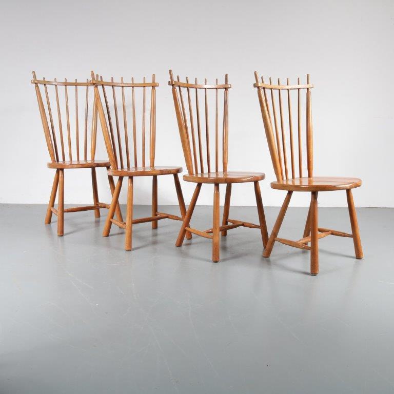 m22979 1950s Birch spokeback dining chairs De Ster Gelderland / Netherlands