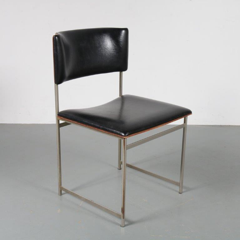m23006 1960s Dining / side chair on chrome plated metal base with plywood seat and back and black skai upholstery Cees Braakman Pastoe / Netherlands