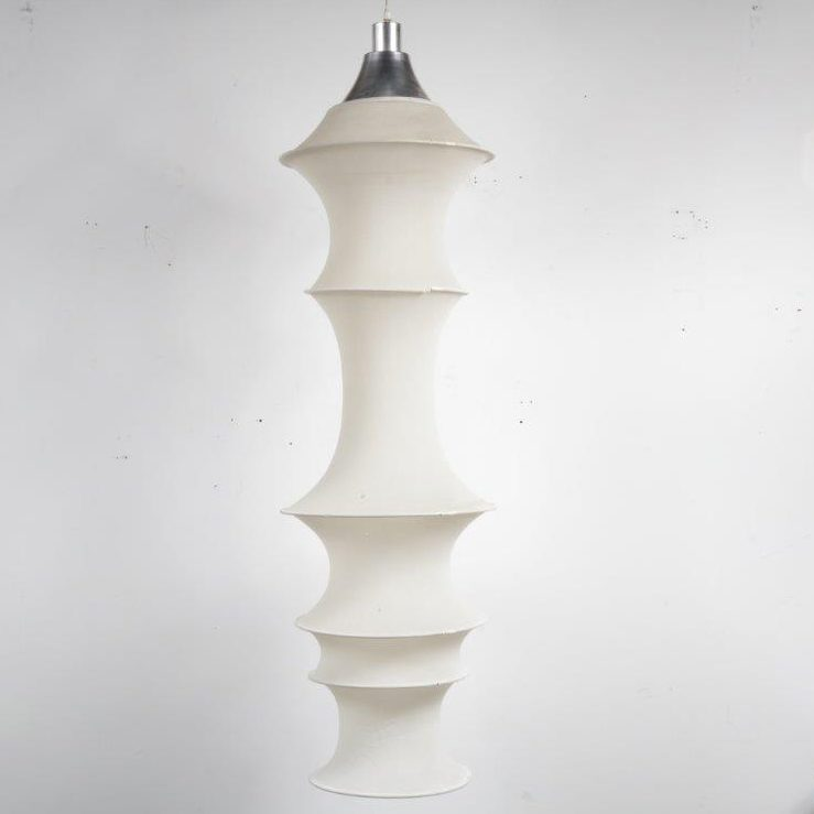 L4158 1960s Hanging lamp Falkland white stretched nylon with metal hoops Bruno Munari Danese / Italy