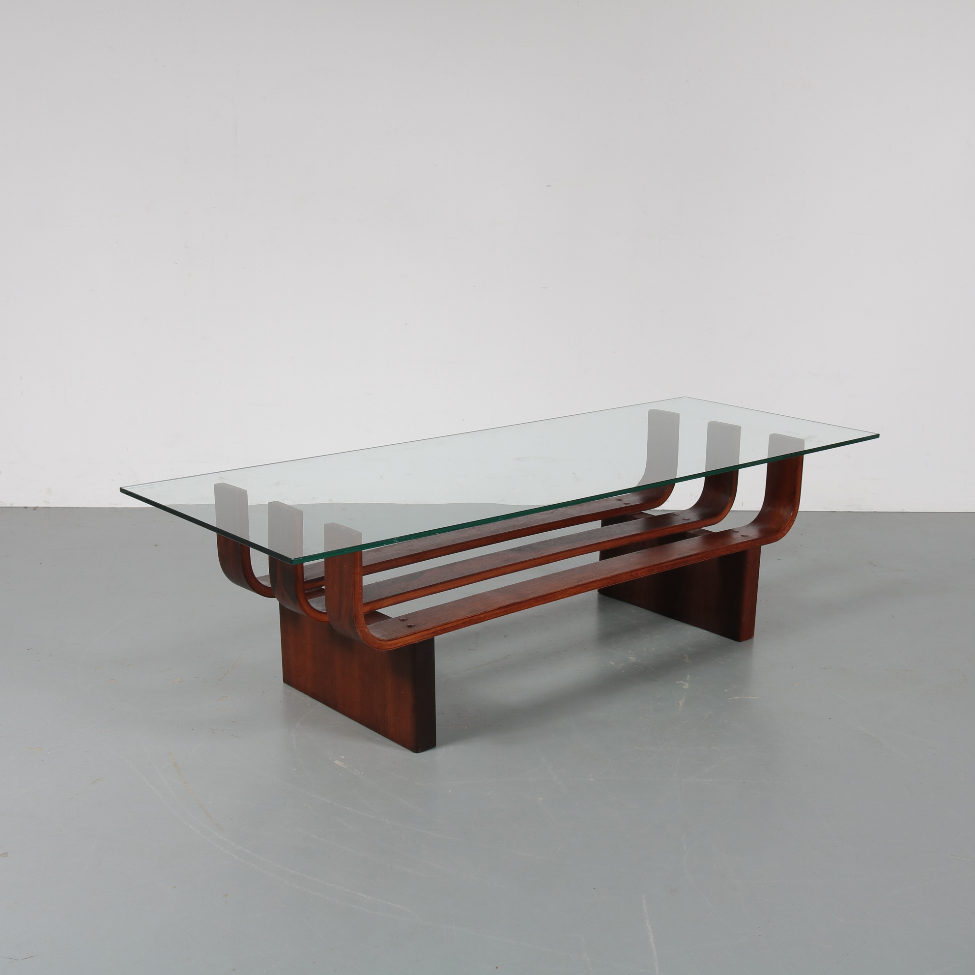 m22941 1960s Beautiful coffee table on rosewood base with glass top TH Brown & Sons, Australia