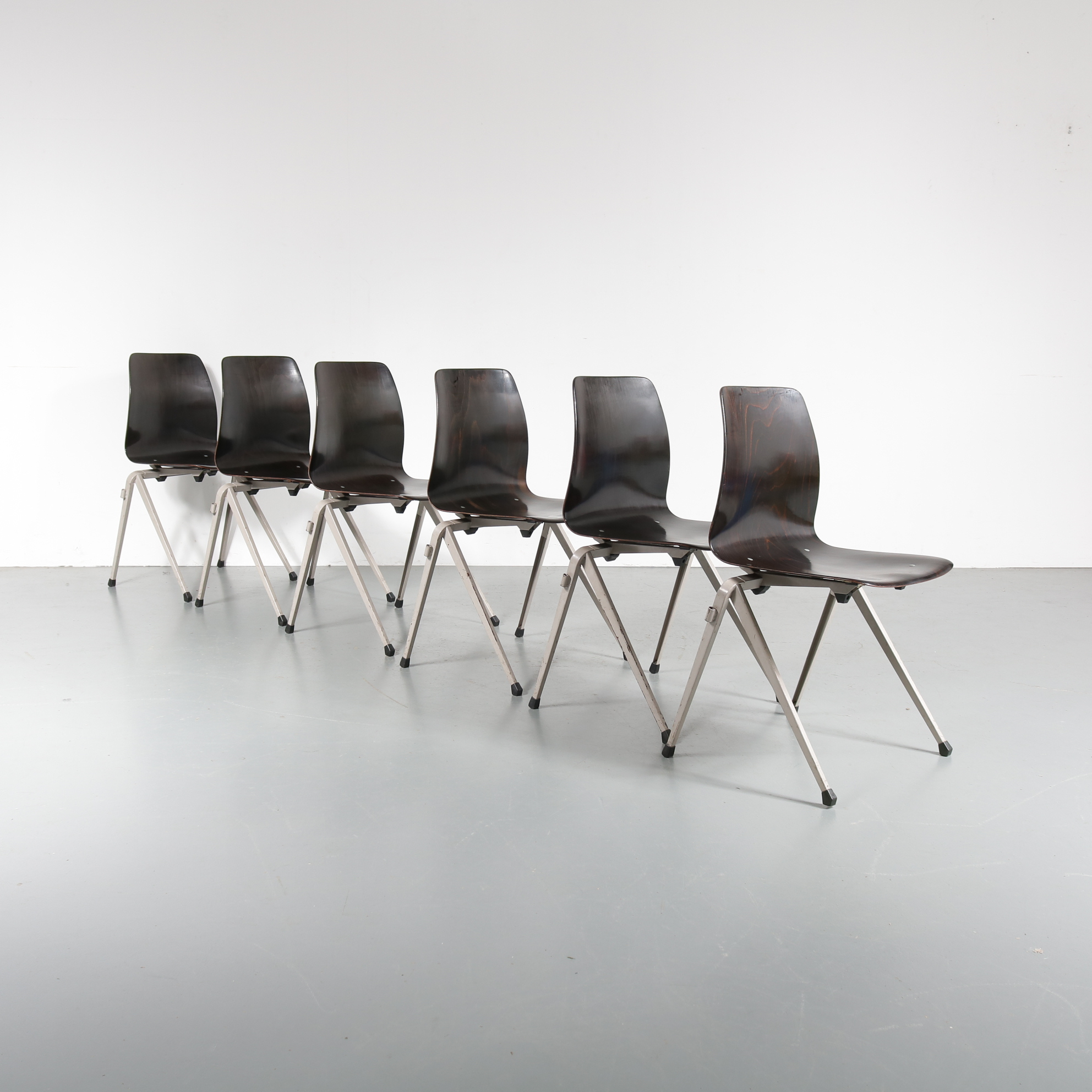 Large Stock of Galvanitas S22 Stackable Dining Chairs, circa 1970