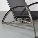 m22953 1980s Easy chair nickled frame with net weave upholstery and black leather neck roll model D82N Jean Prouvé Tecta / Germany