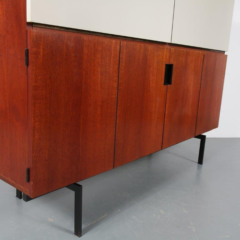 m22944 1960s Cabinet from the Japanese series in teak with two white doors on black metal base Cees Braakman Pastoe / Netherlands
