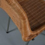 m22999 1950s Set of 4 dining chairs on chrome metal base with wicker upholstery Dirk van Sliedregt Rohé / Netherlands