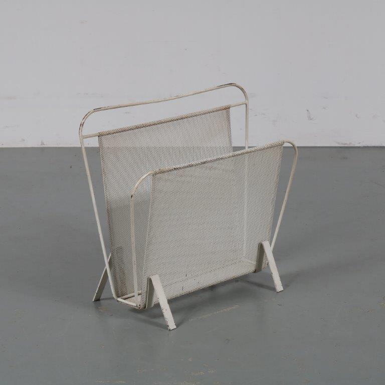 18091 m23000 1950s White perforated metal magazine rack Mathieu Matégot Artimeta / Netherlands