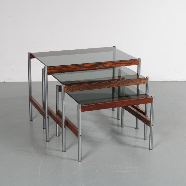 m22952 1960s Set of three nesting tables, chrome with wooden base and smoke glass tops Sven Ivar Dysthe Norway