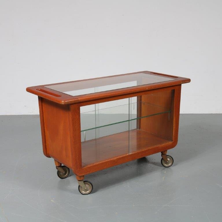 m22949 1950s Early edition oak with glass trolley Cees Braakman Pastoe / Netherlands