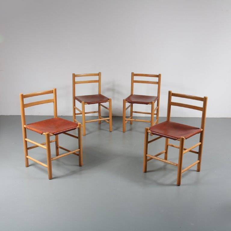 1950s Ate van Apeldoorn dining chairs, set of four, Houtwerk Hattem Netherlands