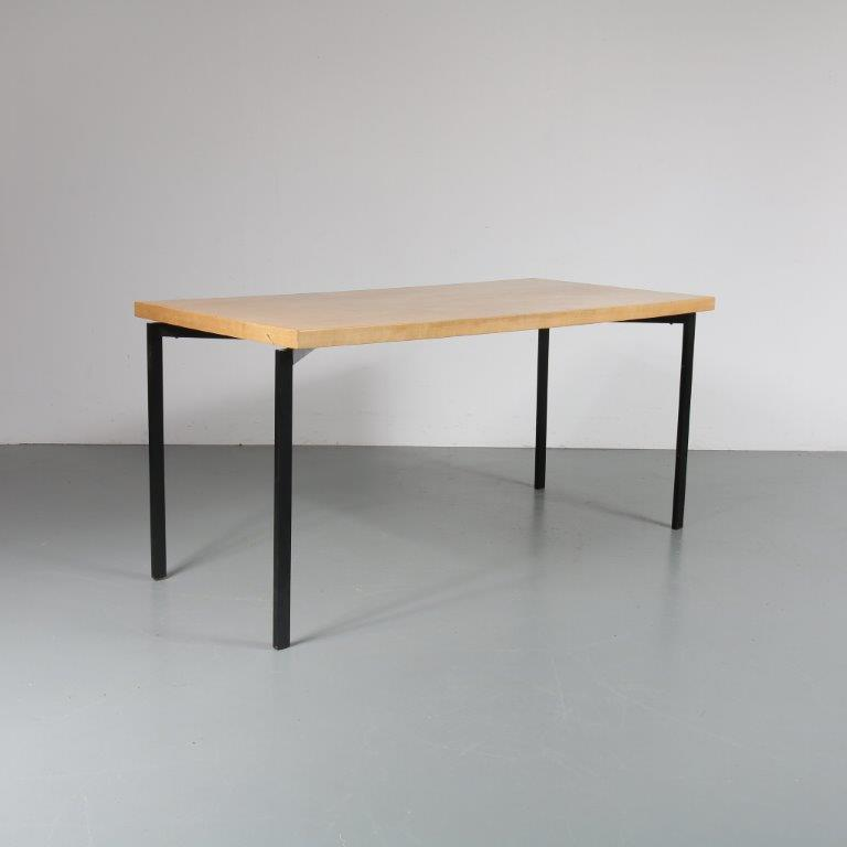 m23042 1950's Dutch dining table birch top with black metal base