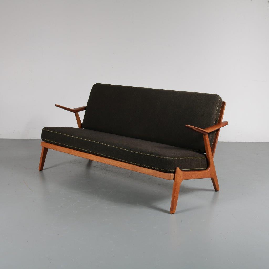 m22852 1950s Teak Danish two-seater sofa with original upholstery Arne Wahl Iversen Komfort / Denmark