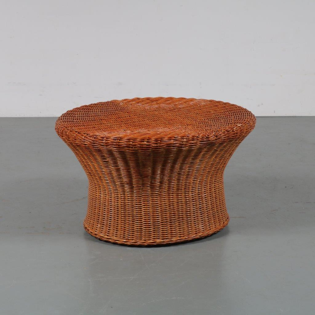 m23070 1960s Wicker with rattan oval stool Netherlands