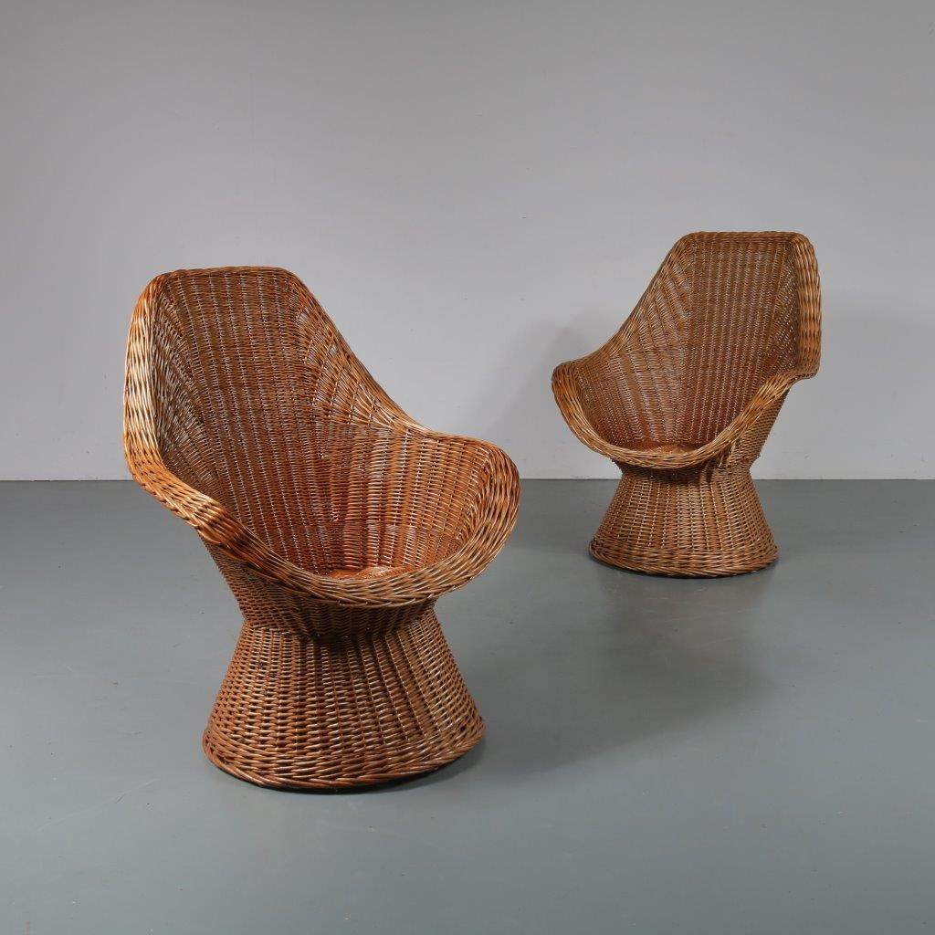 m23085 1960s Pair of wicker easy chair Netherlands