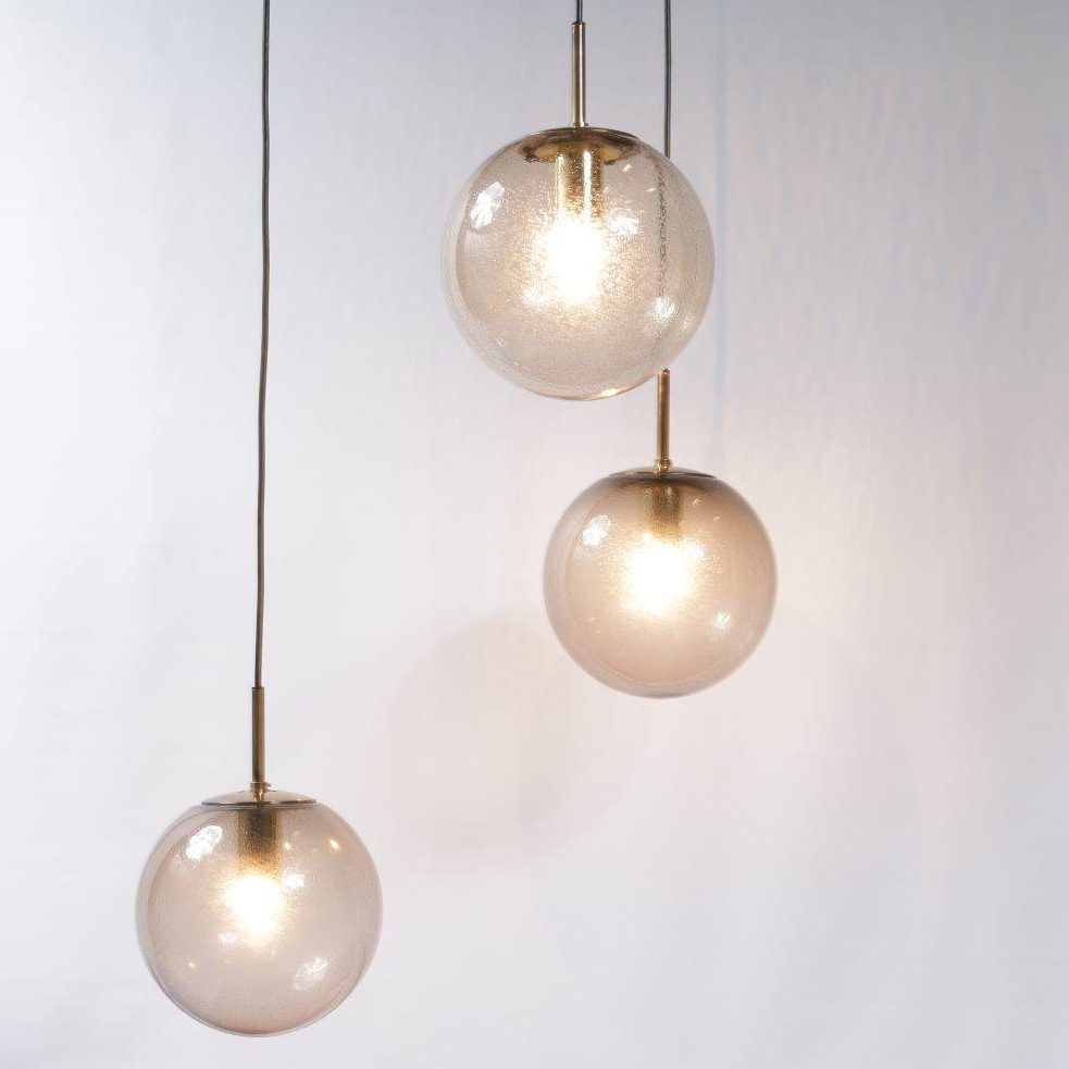 L4181 1960s Hanging lamp with three glass balls and brass frame Glashutte Limburg / Germany