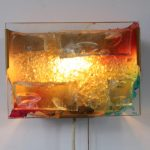 181022 (138) L1657 L2342 Raak wall sconces in colourful glass Netherlands 1950s