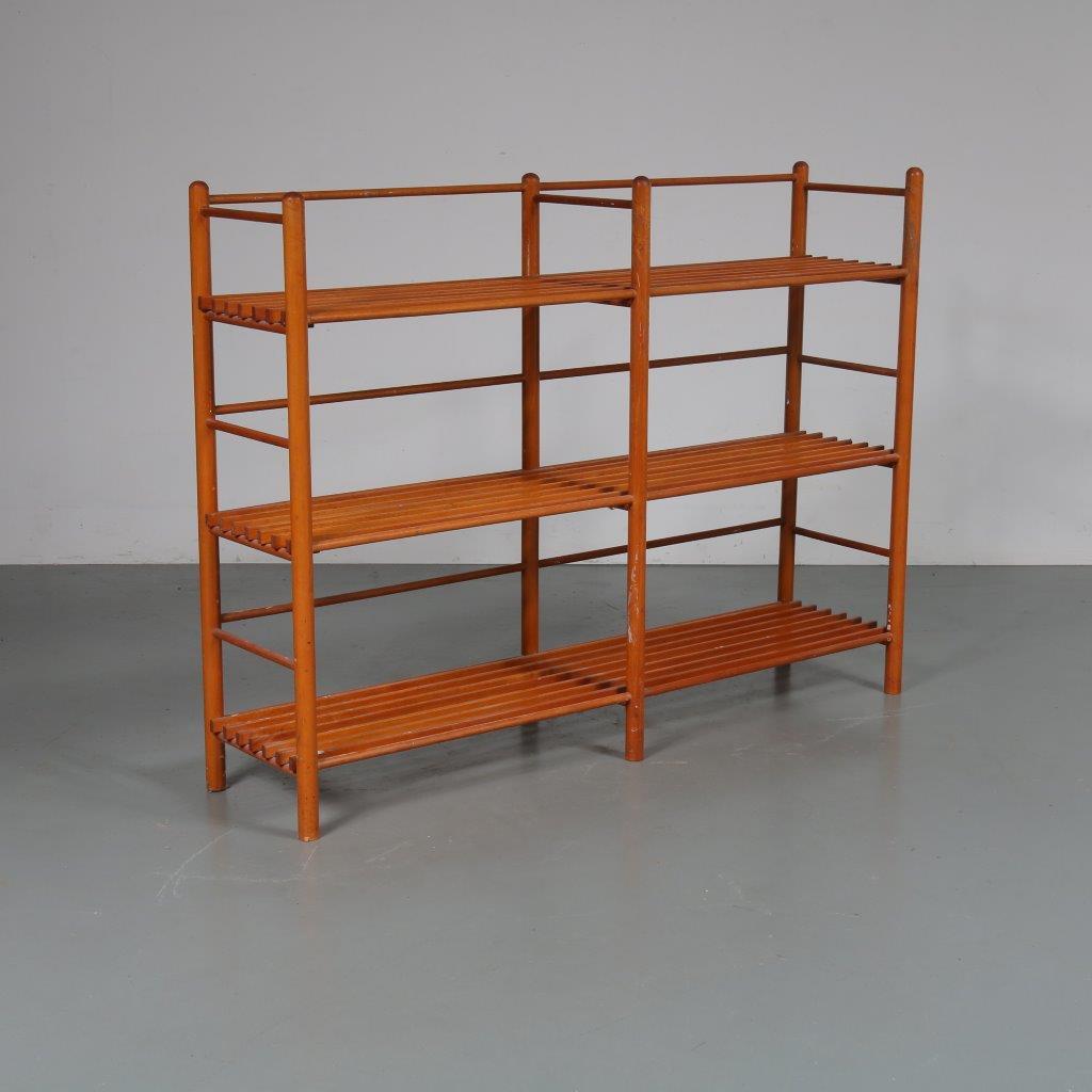 m23084 1950s Birch stick cabinet with 3 slate shelves Netherlands