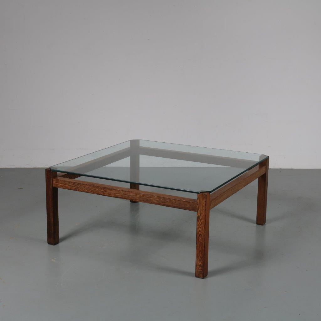 m23072 1950s Square coffee table on Wengé wooden base with glass top Kho Liang Ie Spectrum / Netherlands