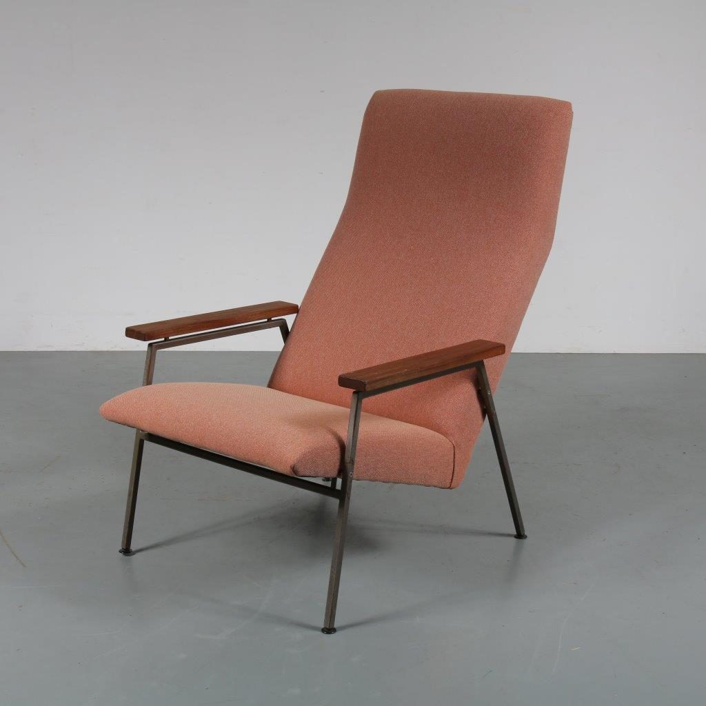 m22763 1960s Beautiful lounge chair on grey metal base with teak armrests and new upholstery Rob Parry Gelderland Netherlands