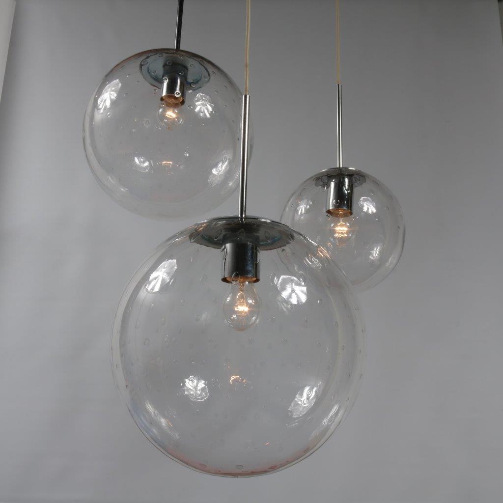 L2714-6 1960s Dutch glass balls hanging lamp by Raak, Netherlands